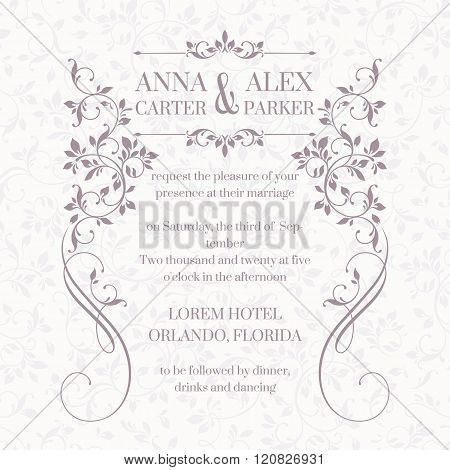 Wedding Invitation. Design Classic Cards. Decorative Floral Frame.