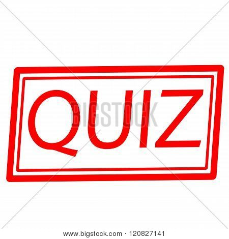 an images of QUIZ red stamp text on white