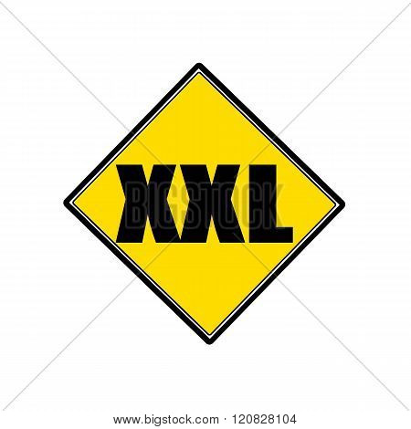an images of XXL black stamp text on yellow
