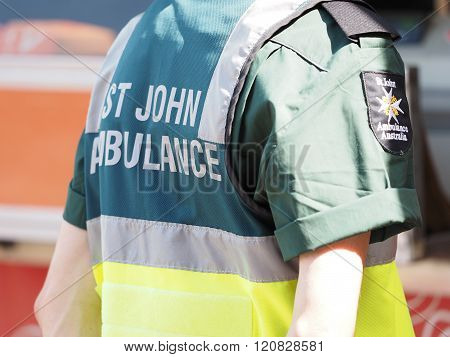 Paramedic Attending A Public Event, Uniform Detail With Back A