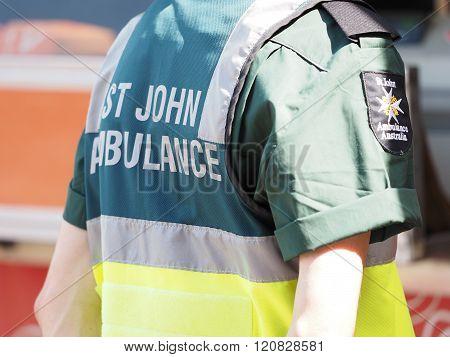 Paramedic Attending A Public Event, Uniform Detail With Back A