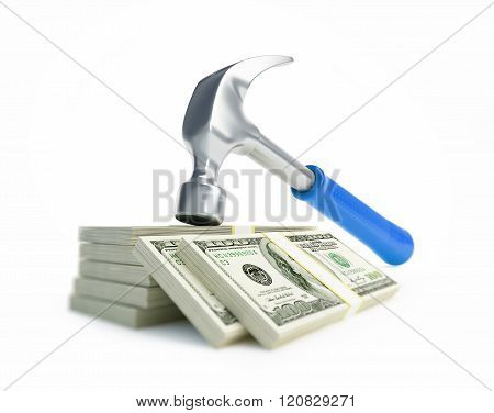 Claw Hammer Dollar 3D Illustrations On A White Background