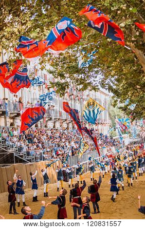 Flag-waving Parade In Medieval Palio