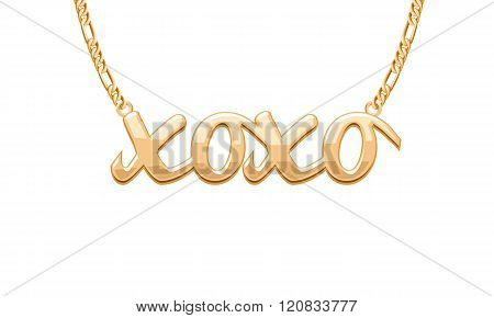 Golden XOXO word pendant on chain necklace.