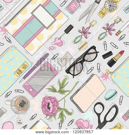 Seamless beauty pattern with make up nail polish flowers jewelry notebook pen. Background for girls or women. Cute seamless office pattern.