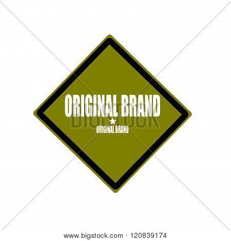Original Brand  White Stamp Text On Green Background