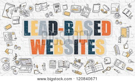 Lead-Based Websites Concept with Doodle Design Icons.