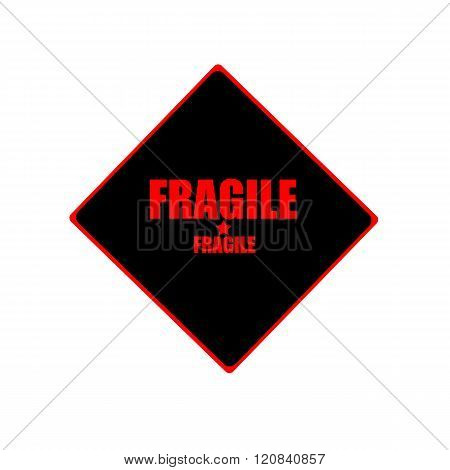 Fragile Red Stamp Text On Black Background