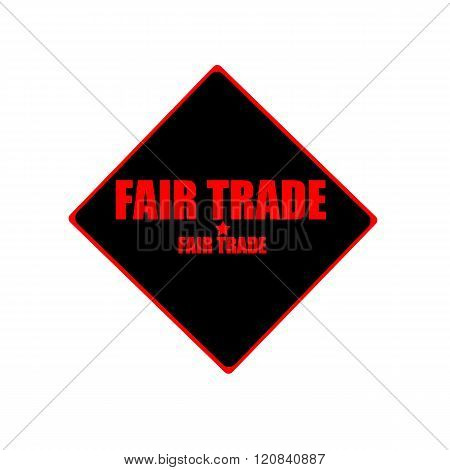 Fair Trade Red Stamp Text On Black Background