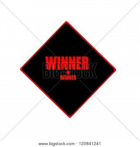 Winner Red Stamp Text On Black Background