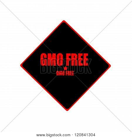 Gmo Free Red Stamp Text On Black Background