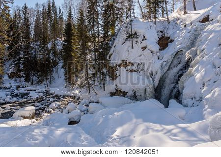 Waterfall Winter Snow Mountain