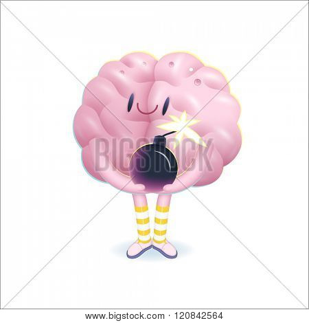 A vector illustration of a brain wearing knee-length striped socks holding the bomb in its hands, the metaphor of patience