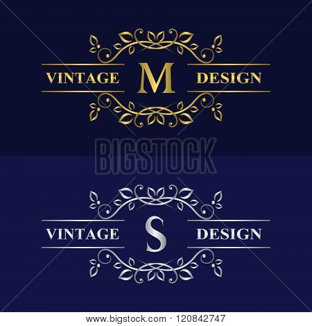 Monogram Design Elements Graceful Template. Calligraphic Elegant Line Art Logo Design. Letter Emblem