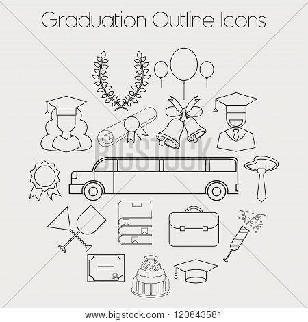 Graduation Celebrating Education Icon Vector Set