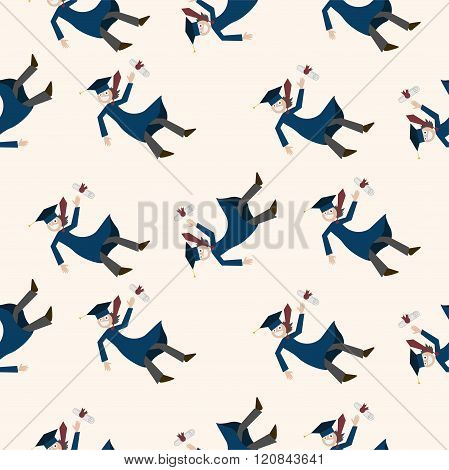 Flying Graduate Seamless Pattern