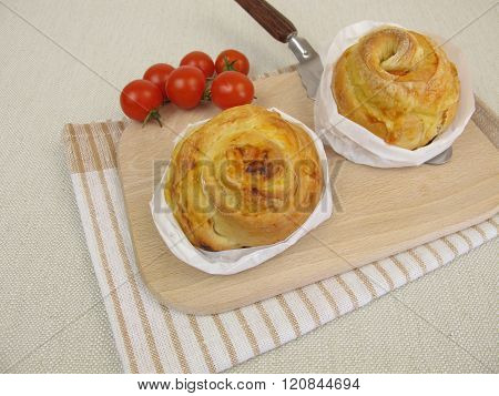 Pizza pinwheel with tomatoes and cheese