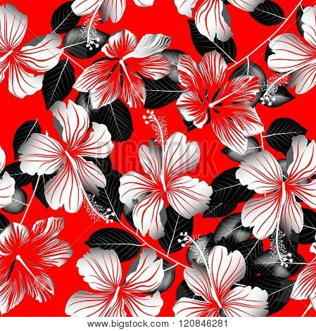 Tropical White Hibiscus Flowers With Black Leaves Seamless Pattern