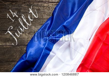 France Flag On Wooden Background, Concept 14Th July