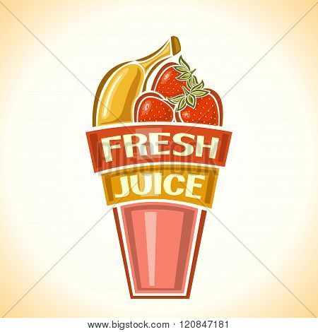 Banana-strawberry fresh juice