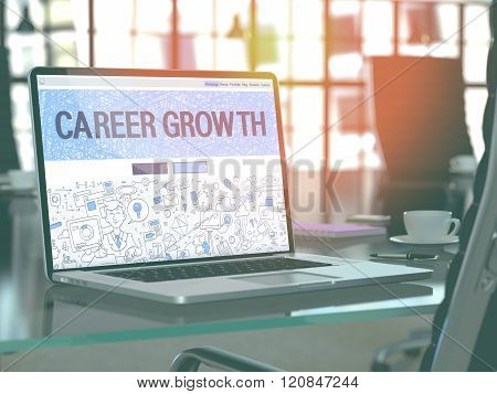Career Growth Concept on Laptop Screen.