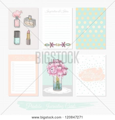 Printable cute set of filler cards with flowers makeup jewelry and beauty accessories. Vector templates for posters flyers banner designs journal cards scrapbook planner diary journaling.