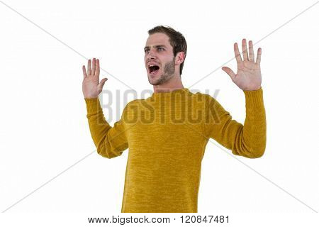 Hipster man screaming on white background