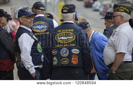 Bangor, Maine/USA-May 26: Military war veteransconverse before the start of the Memorial Day Parade on May 26, 2014 in Bangor, Maine.