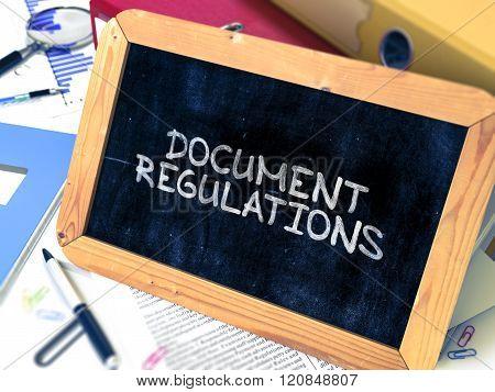 Handwritten Document Regulations on a Chalkboard.