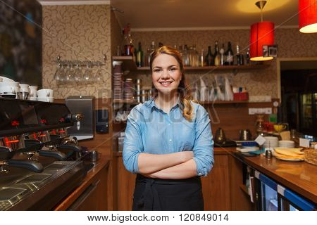 occupation, profession, job, small business and people concept - happy barista woman at coffee shop