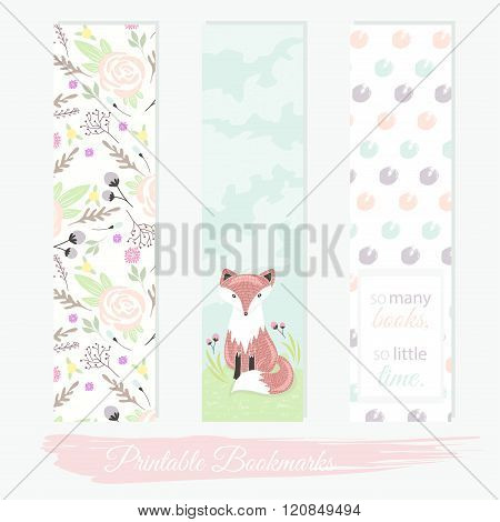 Printable bookmarks with flowers fox and polka dots. Vector templates for posters flyers banner designs journal cards scrapbook planner diary journaling.
