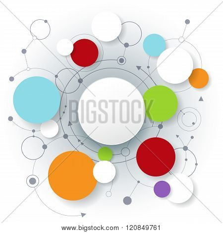 Vector Abstract Molecules With 3D Paper Label