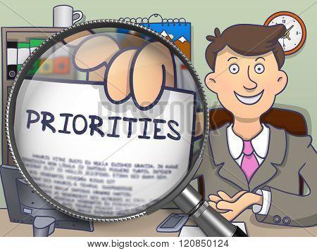 Priorities through Magnifier. Doodle Concept.