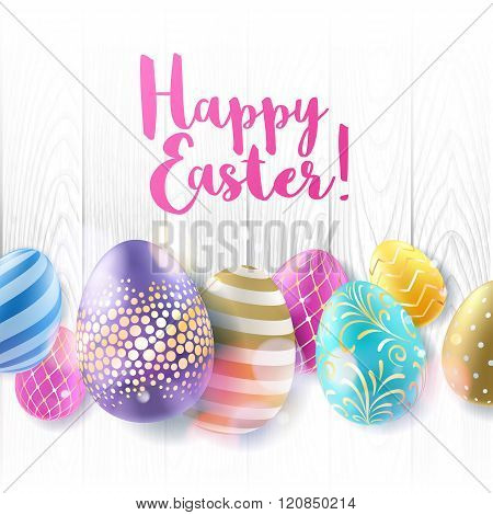 Colorful bright Easter eggs background.