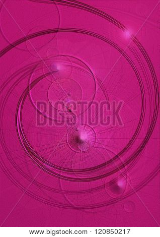 Crimson background with swirls,convex cones,transparent circles and highlights