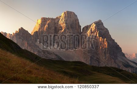 Morning Panoramic View Of Mount Pelmo, Italian Dolomites