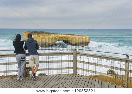 Tourists in London Arch, Australia