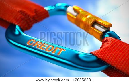 Credit on Blue Carabine with a Red Ropes.