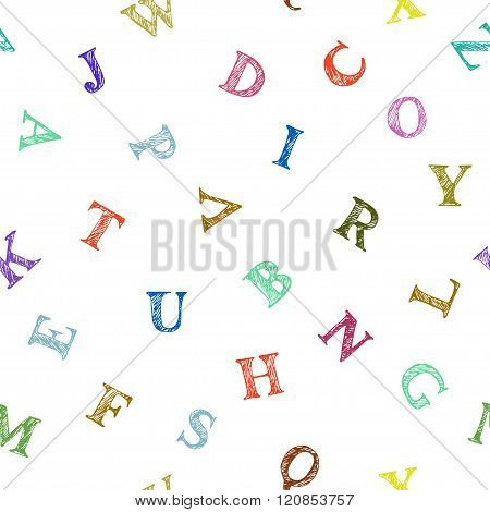 Vector Seamless Pattern With Colorful Hand Drawn Letters