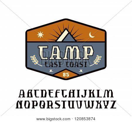 Rustic Serif Font And Camping Emblem