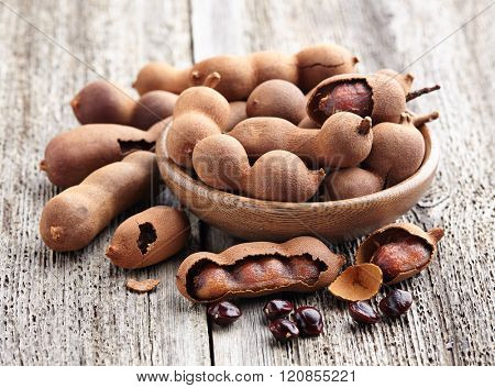 Tamarind fruit with seeds