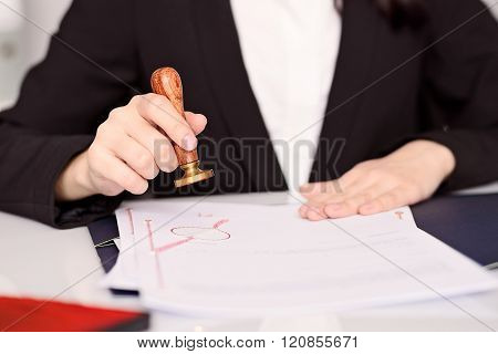 Notary Public Woman Hands Stamping Notary Act .