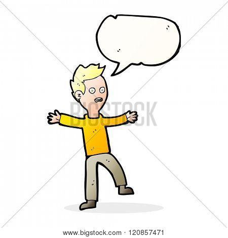 cartoon startled boy with speech bubble