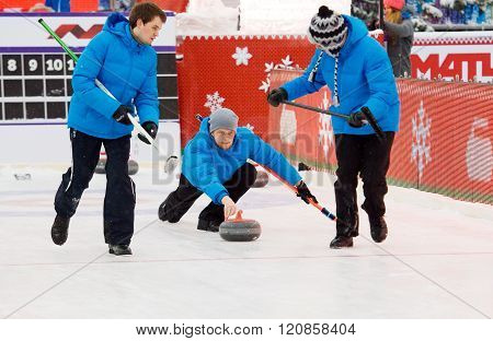Curling Players Kirill Savenkov (l), Alexey Kulikov (c) And P. Mishin (r)