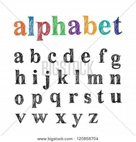 Hand Drawn Lowercase English Alphabet