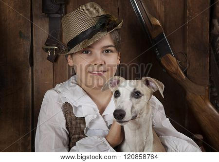 Portrait Of A Little Boy With A Dog