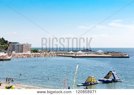 Varna, Bulgaria - July 22, 2015: beach on the Black Sea, June 22, 2015 in Varna, Bulgaria