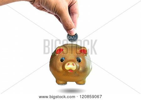 Hand inserting coins into a piggy bank