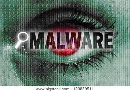 Malware Eye Looks At Viewer Concept