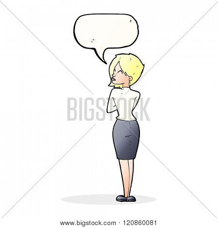 cartoon businesswoman ignoring with speech bubble